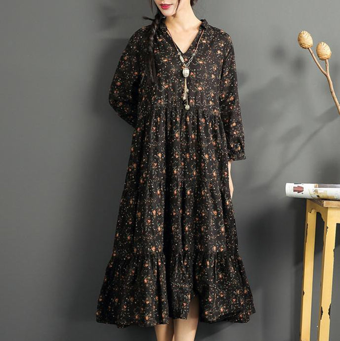 vintage black linen maxi dress casual prints cotton maxi dress casual v neck traveling clothing