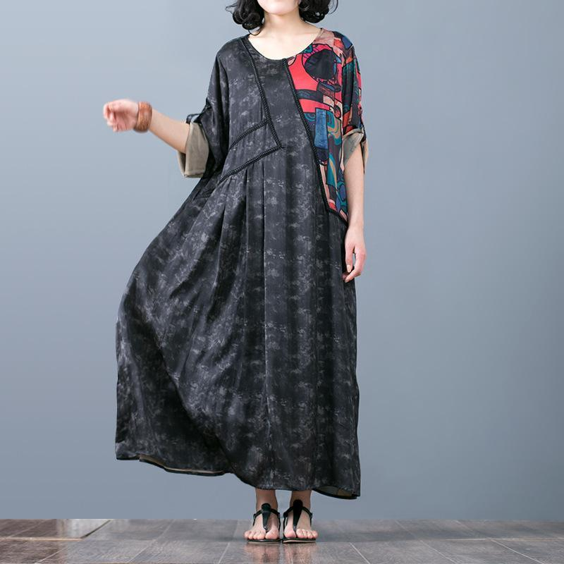 vintage black prints long silk dresses Loose fitting patchwork prints caftans boutique o neck caftans