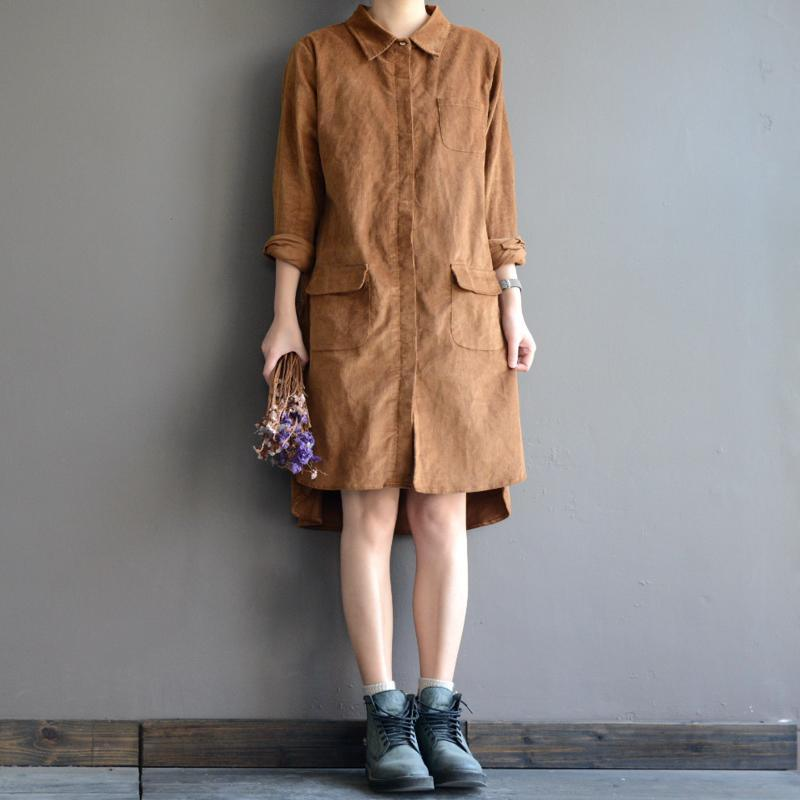 vintage corduroy shirt dresses cotton pockets spring shift dress