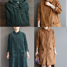 Load image into Gallery viewer, vintage corduroy shirt dresses cotton pockets spring shift dress