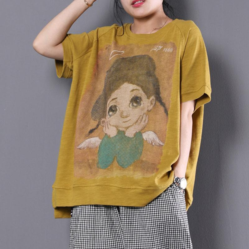 vintage cotton blouses trendy plus size Loose Cartoon Printed Short Sleeve Yellow T-shirt