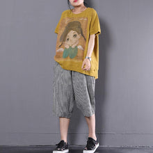 Load image into Gallery viewer, vintage cotton blouses trendy plus size Loose Cartoon Printed Short Sleeve Yellow T-shirt