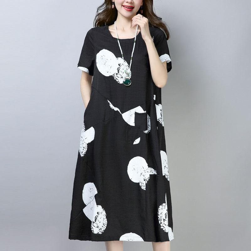 vintage cotton shift dress plus size clothing Casual Short Sleeve Round Neck Printed Black Dress