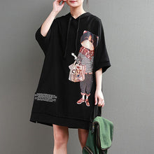 Load image into Gallery viewer, vintage cotton summer dress trendy plus size Hoodie Loose 12 Sleeve Printed Black Short Dress