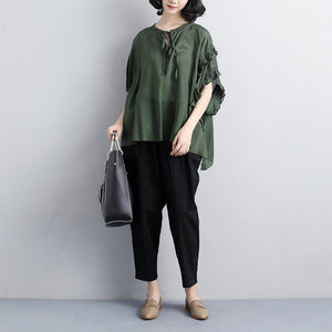 vintage cotton tops Loose fitting Loose Summer Short Sleeve Green Lacing Women Tops