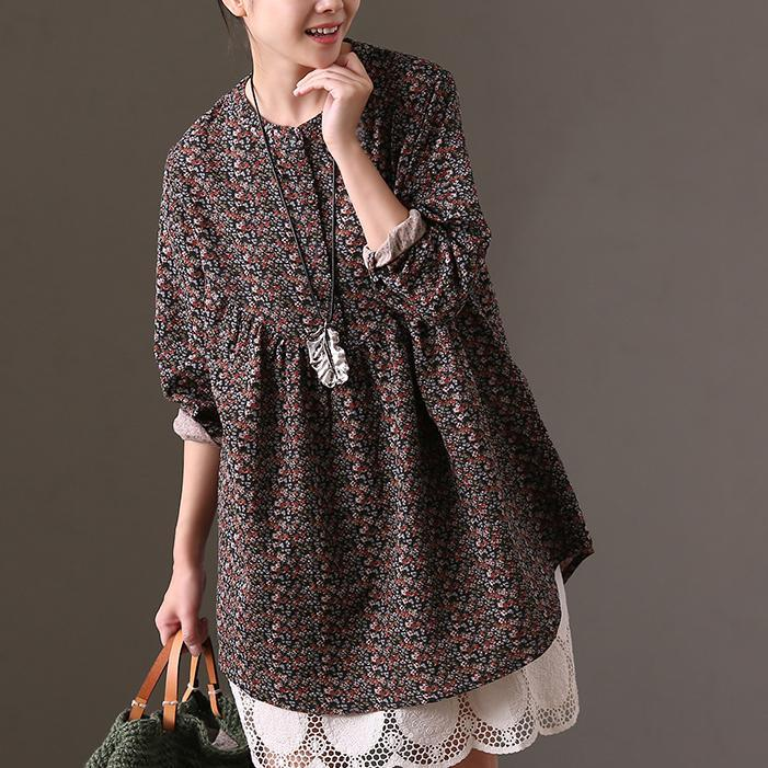 vintage floral cotton dresses oversize casual dress women high waist long sleeve cotton clothing dresses