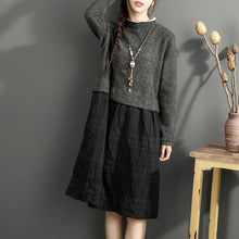 Load image into Gallery viewer, vintage gray black patchwork long linen dress plus size o neck cotton maxi dress casual long sleeve cotton clothing