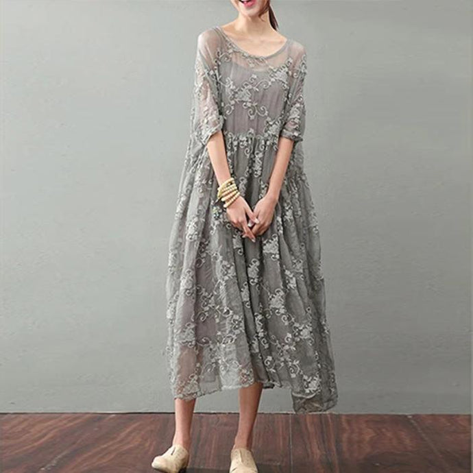 Vintage Gray Silk Maxi Dress Trendy Plus Size Lace Gown Top Quality Bracelet Sleeved Gown ( Limited Stock)