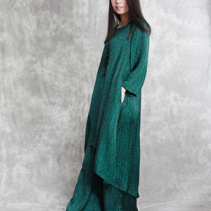 vintage green prints silk prints two pieces casual mid long tops and elastic waist pants