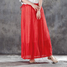 Load image into Gallery viewer, vintage linen summer skirt plus size Casual Women Drawstring Ankle Length Lining Skirts