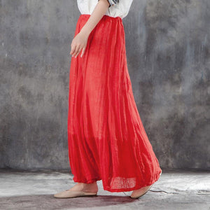 vintage linen summer skirt plus size Casual Women Drawstring Ankle Length Lining Skirts