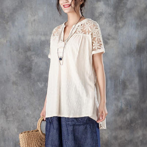 vintage linen tops trendy plus size Casual V Neck Short Sleeve Splicing Beige Tops