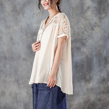 Load image into Gallery viewer, vintage linen tops trendy plus size Casual V Neck Short Sleeve Splicing Beige Tops
