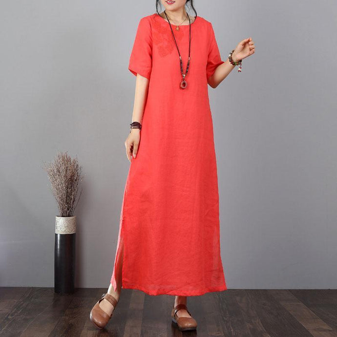 vintage long cotton dresses oversized Cotton Linen Embroidered Red Short Sleeve Dress