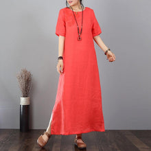 Load image into Gallery viewer, vintage long cotton dresses oversized Cotton Linen Embroidered Red Short Sleeve Dress