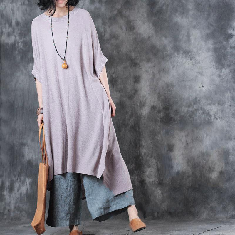 vintage nude pink long cotton dresses trendy plus size side open cotton maxi dress top quality low high design kaftans