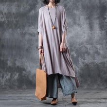 Load image into Gallery viewer, vintage nude pink long cotton dresses trendy plus size side open cotton maxi dress top quality low high design kaftans