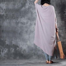 Laden Sie das Bild in den Galerie-Viewer, vintage nude pink long cotton dresses trendy plus size side open cotton maxi dress top quality low high design kaftans