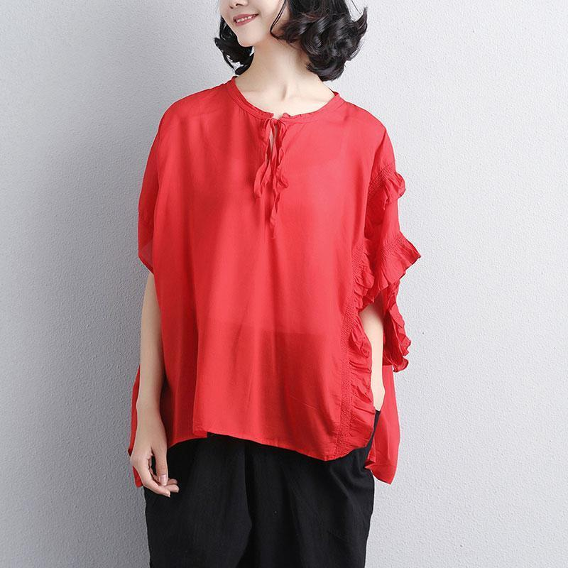 vintage pure cotton blouse oversized Loose Summer Short Sleeve Red Lacing Women Tops