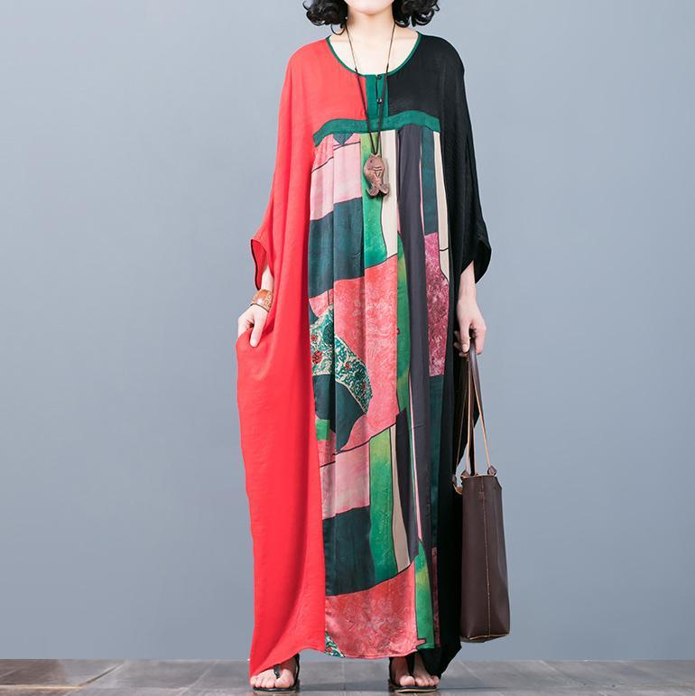vintage red black patchwork  natural silk dress  oversize prints traveling clothing vintage batwing sleeve maxi dresses