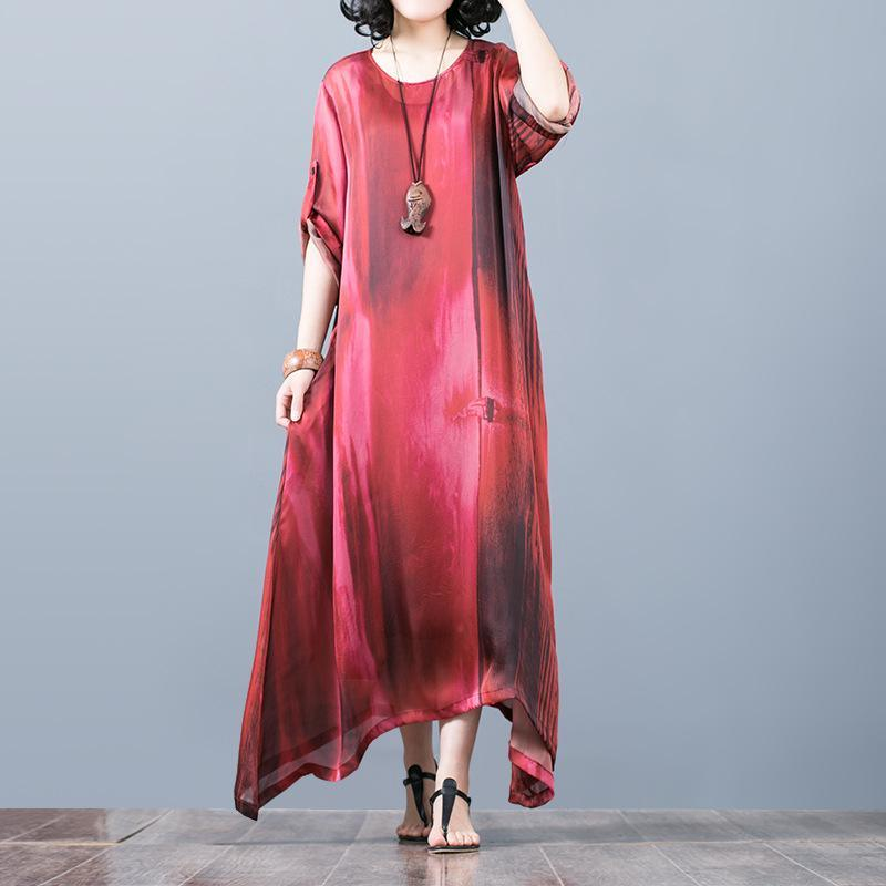 vintage red natural silk dress  plus size asymmetric gown vintage o neck maxi dresses