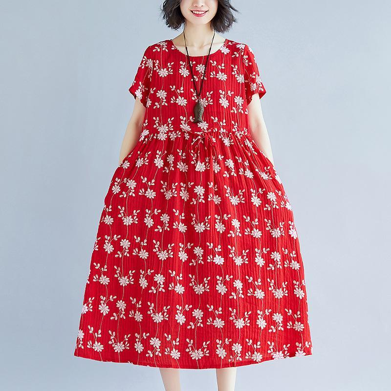 vintage red print cotton dresses plussize short sleeve clothing dresses boutique tie waist dress