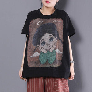 vintage summer cotton tops plus size Loose Cartoon Printed Short Sleeve Black T-shirt