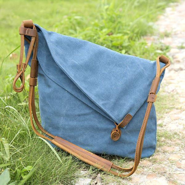 vintage women blue casual canvas leather bag