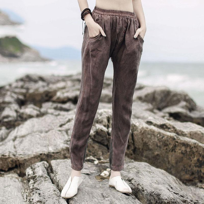 vogue pockets chocolate silk blended elastic waist trousers