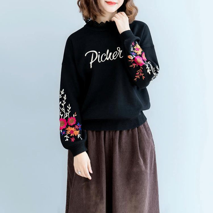 warm black  sweaters plus size clothing embroidery pullover Elegant lace  o neck fall blouse