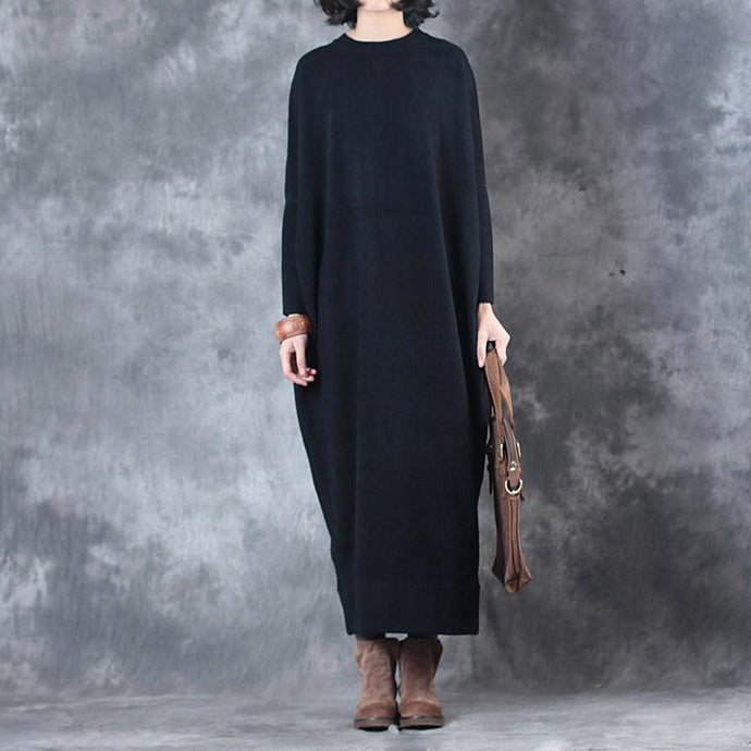 warm black sweater dresses Batwing Sleeve trendy plus size o neck fall dresses Elegant pullover