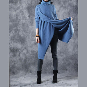 warm blue cozy sweater casual high neck knit sweat tops 2018 front back side open winter tops