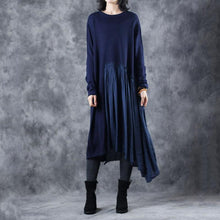 Load image into Gallery viewer, warm blue sweater dresses plus size clothing o neck wrinkled pullover sweater Elegant patchwork winter dresses