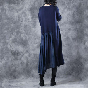 warm blue sweater dresses plus size clothing o neck wrinkled pullover sweater Elegant patchwork winter dresses