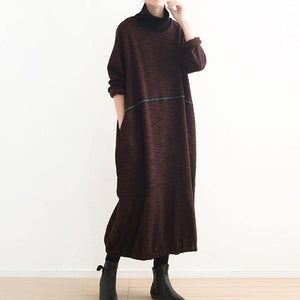 warm brown knit dresses casual high neck spring dresses vintage baggy winter dress