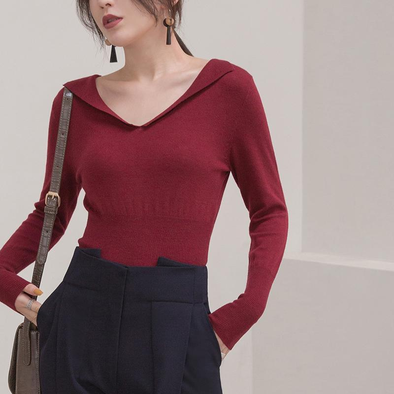 warm burgundy winter sweater oversize v neck knitted blouses Elegant tunic sweaters blouse