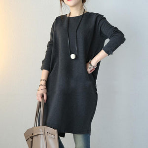warm dark gray sweaters fall fashion baggy dresses knitted tops Fine O neck long sleeve shirt