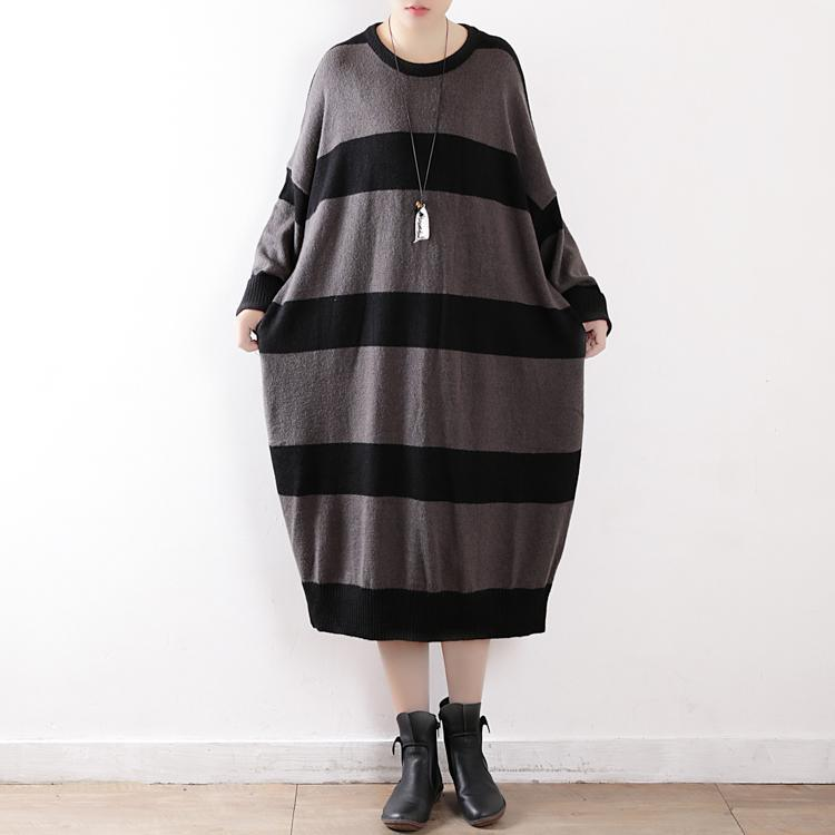 warm gray striped spring dresses plus size o neck winter dress Batwing Sleeve long knit sweaters