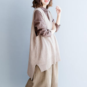 warm khaki  knit tops Loose fitting v neck  sleeveless knitted blouses Fine side open pullover
