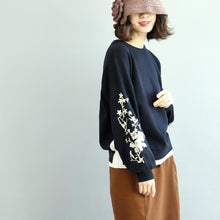Load image into Gallery viewer, warm navy cozy sweater trendy plus size embroidery knit sweaters tops 2018 o neck top