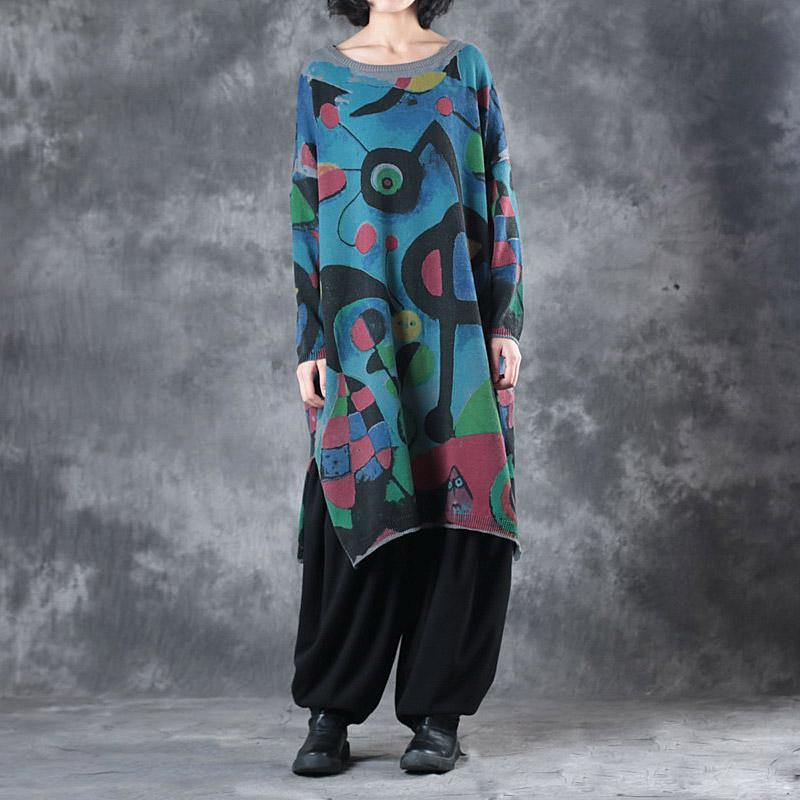 warm prints  knit dresses plus size clothing long sleeve winter dresses women o neck pullover sweater