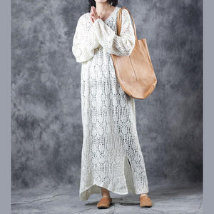 warm white sweater dresses oversize v neck pullover sweater Fine hollow out dresses