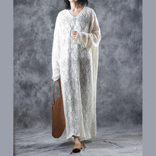 Load image into Gallery viewer, warm white sweater dresses oversize v neck pullover sweater Fine hollow out dresses
