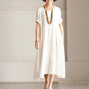 White casual linen sundress short sleeve maxi dress summer
