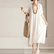Load image into Gallery viewer, White casual linen sundress short sleeve maxi dress summer