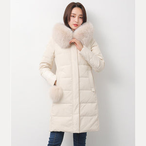 white down jacket woman casual fuzzy ball decorated down jacket fur collar winter outwear