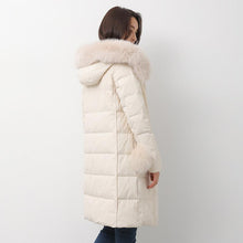 Load image into Gallery viewer, white down jacket woman casual fuzzy ball decorated down jacket fur collar winter outwear
