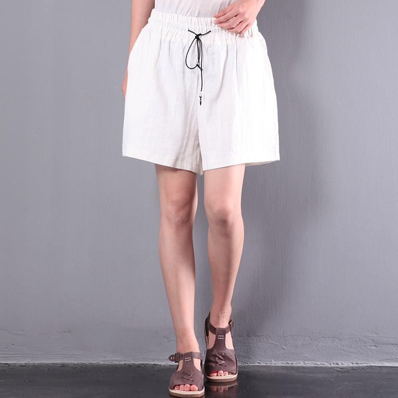 white baggy casual linen hot pant loose stylish short