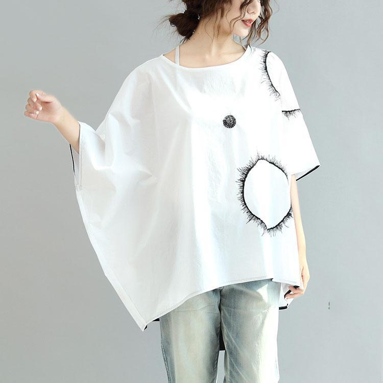 white baggy loose cotton blouse oversize print tops batwing sleeve t shirt