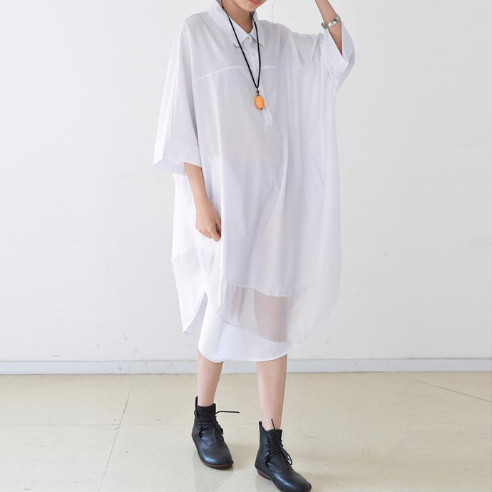white casual summer dress plus size sundress cotton stylish shirt dresses